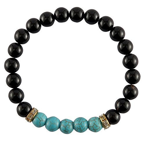 41G0IOdkSCL - Aatm Reiki Energized Natural Gemstone 7-8mm Black Onyx With Turquoise Gemstone Bracelet for Healing.
