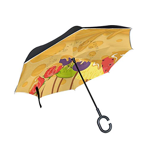 Reverse Umbrella,Cheese Fondue With Fruit Inverted Night Reflective Edge Golf Umbrellas,Double Layered Polyester Canopy,O-Shape Handle