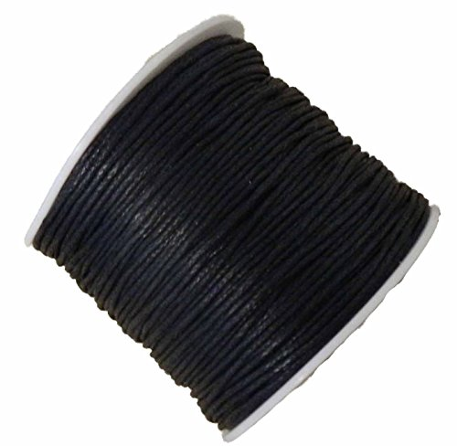 Rockin Beads 1mm Waxed Cotton Jewelry Macrame Craft Cord 80 Yards Wolven Black (1 Mm Cotton)