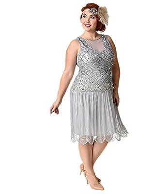 1920s Style Plus Size Lilac Beaded Drop Waist Elaina Flapper Dress