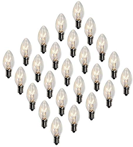 Creative Hobbies Box of 25 Clear Blinker Light Bulbs, C7 Candelabra Base,Random Blinking - 7 Watt - Candelabra Base -Great for Night Lights and Christmas Strings