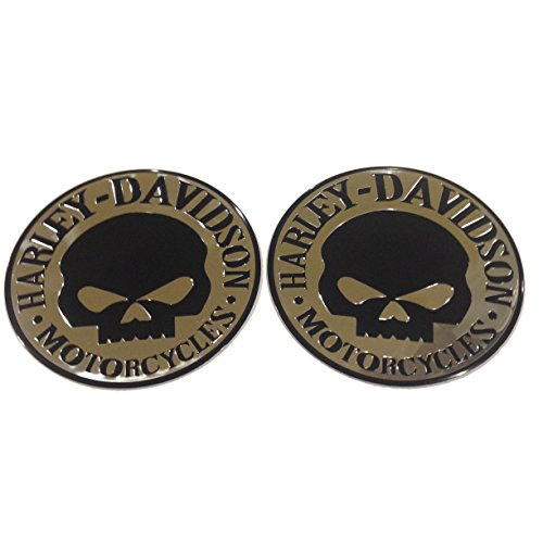 Two Flexible Metal Willie G Skulls Harley Davidson Motorcycle Emblem Badge Decal - Motorcycle Tank Emblems
