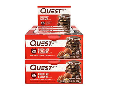Quest Nutrition Protein Bar Chocolate Hazelnut. Low Carb Meal Replacement Bar w/ 20g+ Protein. High Fiber, Soy-Free, Gluten-Free (24 Count)