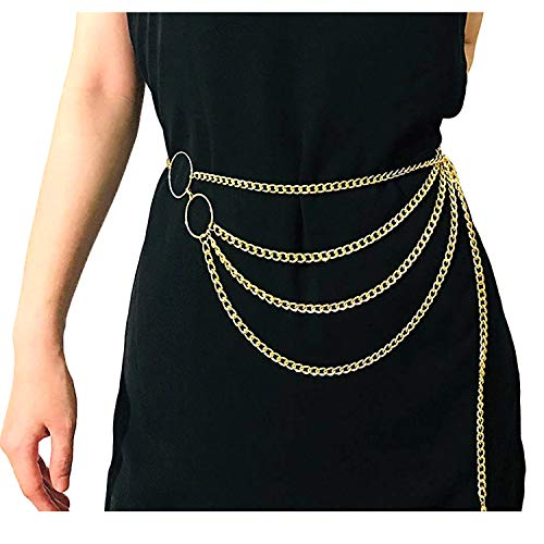 Women Sexy Gold Body Chain Belt Metal Link Belly Waist Chains Bikini Beach Waistbands Multilayer Body Chain Jewelry Gold B ()
