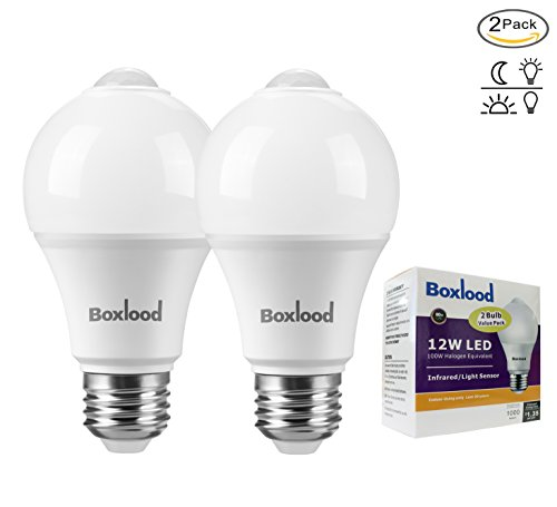 Infrared Led Detector (2 Pack Boxlood 12W Smartsense A19 LED Security Bulb Built-In Infrared Motion Detector Sensor LED Light Bulb Auto On/Off Motion Activated LED Bulb 100W Equivalent 6000K Cold White E26 Medium Base)