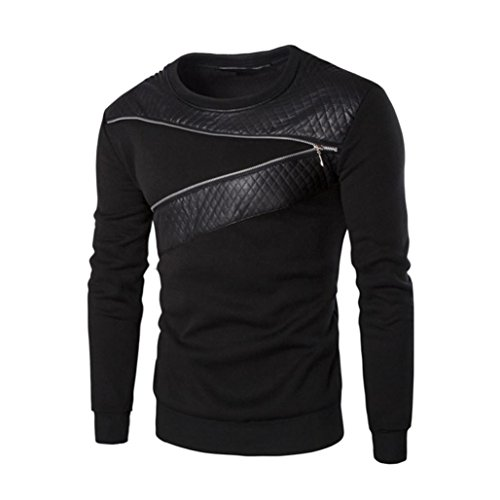 Price comparison product image Men's Sweater,Neartime Winter Men Splicing PU Leather Sweatshirt Coat Jacket Sweaters (XL)