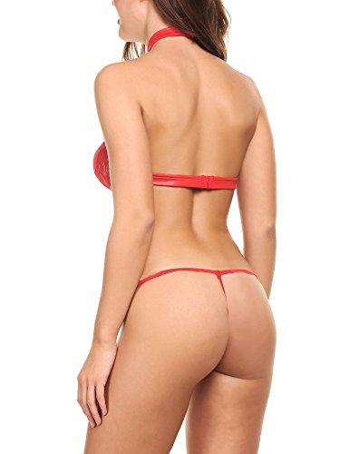 Avidlove Mujeres Conjunto de Lenceria de Cuero Halter Backless Atractivo Rojo