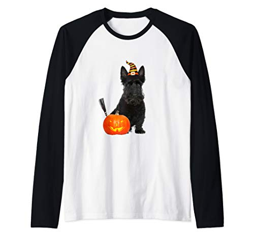 Scottie Scottish Terrier Witch Hat Halloween Dog Costume Raglan Baseball Tee