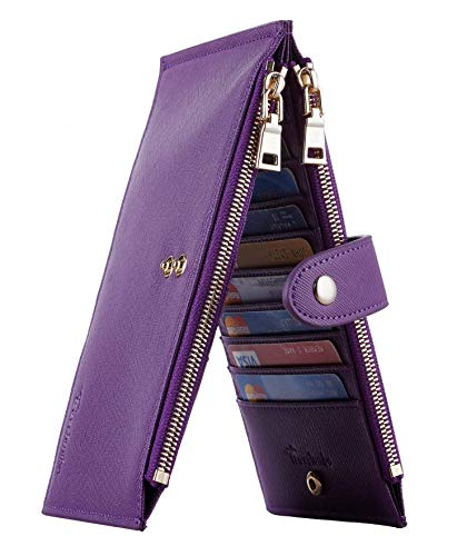 Travelambo Womens Walllet RFID Blocking Bifold Multi Card Case Wallet with Zipper Pocket (CH Purple Deep)