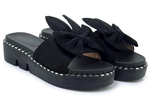 Easemax Mignon Noir Moyen Talon Femme Ouvert Nœud avec Bout Epais Mules qParq5w