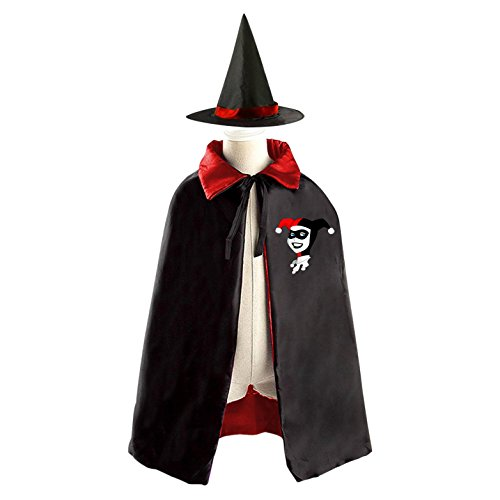 DIY Harley Quinn cartoon Costumes Party Dress Up Cape Reversible with Wizard Witch Hat