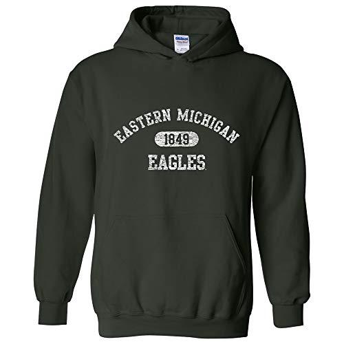 Michigan Football Eastern (AH20 - Eastern Michigan Eagles Athletic Arch Hoodie - 2X-Large - Forest)