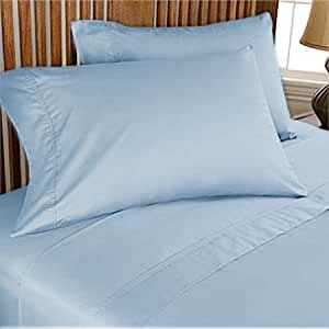 300 TC ULTRA SOFT SILKY 100% EGYPTIAN COTTON 4 PIECE LUXURIOUS SHEET SET FULL SKY BLUE SOLID BY PEARLBEDDING