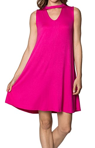- Velucci Swing Dress for Women - Womens Tunic Sleeveless Tank Summer Dresses (Fuchsia-L)
