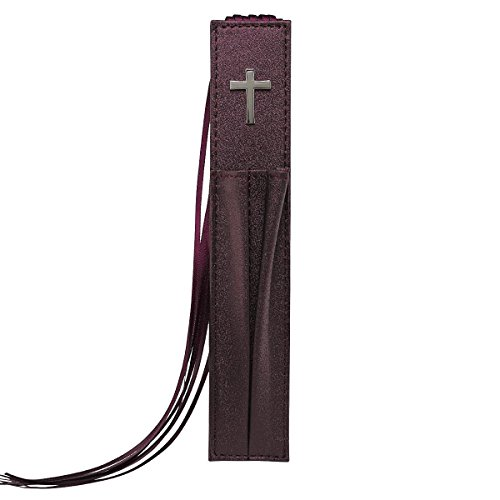 Pagemarker Lux-Leather Bible - Cross Purple W/ Two Pen Holders from Christian Art Gifts