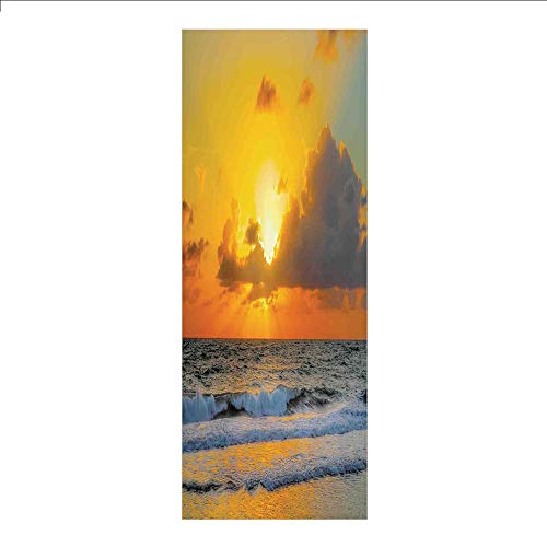 3D Decorative Film Privacy Window Film No Glue,Ocean Decor,Morning at The Beach in Brazil The Sun Rays Through The Clouds Over The Sea Sunset Image,Orange Gray,for Home&Office