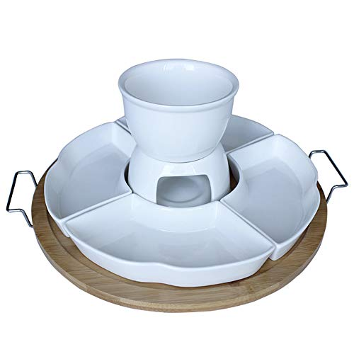 White Ceramic Cheese Fondue Set, Multi-function Porcelain Plate, Round Snack Bowl With 4 Forks