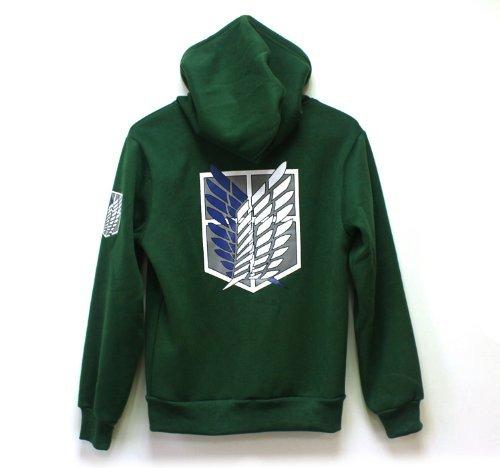 No Titan Scouting Shingeki Per Attack Green Cappuccio Cosplay Legion Felpa On Kyojin Con nFS5g