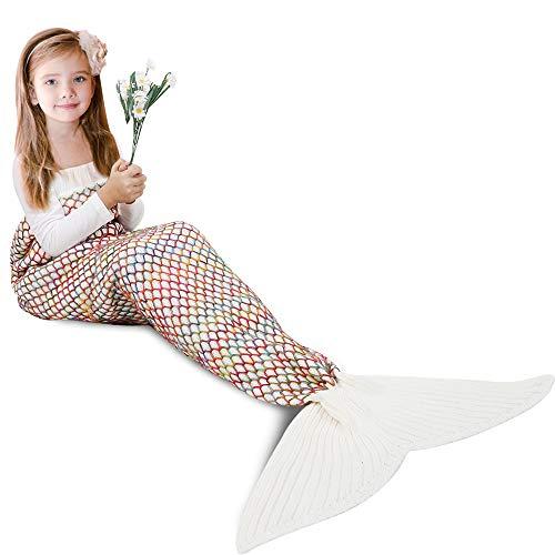 AmyHomie Mermaid Tail Blanket, Mermaid Blanket Adult Mermaid Tail Blanket, Crotchet Kids Mermaid Tail Blanket for Girls (WhiteRainbow, Kids)