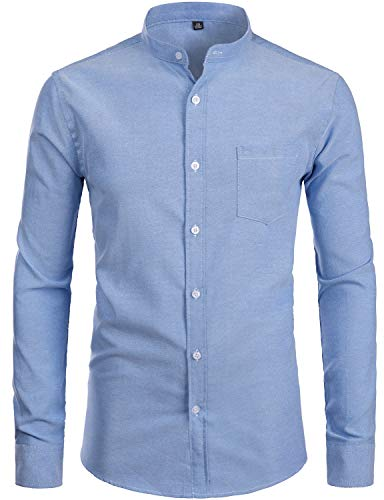 ZEROYAA Men's Hipster Banded Collar Solid Slim Fit Long Sleeve Oxford Dress Shirts with Pocket Z112 Blue Large (Cotton Mandarin Collar Shirt)