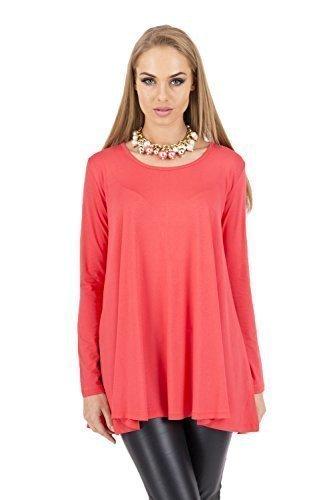 Mini Manches Sensible Longues Haut Femmes FASHION Tunique Decollet 8538 Robe FUTURO Corail qIw68z