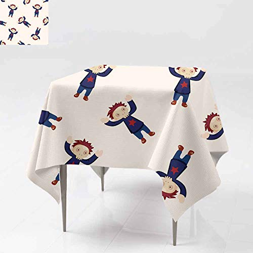 AFGG Square Tablecloth,Halloween Party Costume Cartoon Seamless Pattern backg,Great for Buffet Table, Parties& More 50x50 Inch round4]()