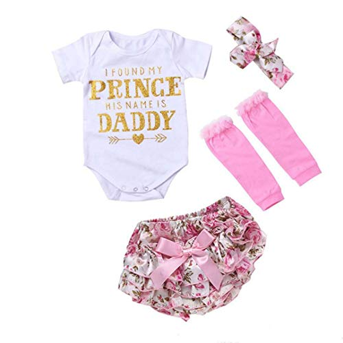 (YUSWISH Newborn Baby Girls Romper Clothes Floral Prince Daddy Headband 4pcs Outfits (Pink, Label)