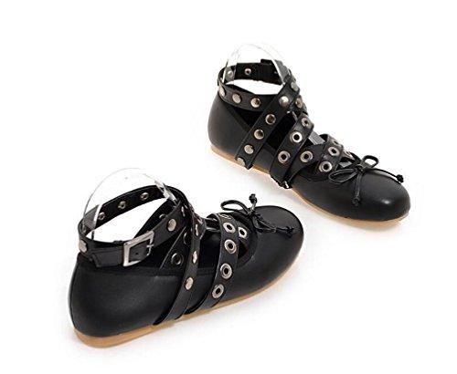 OL Flat Tobillo Corbatas Aerobic Ballet Round Toe Casual Zapatos de Decoración de Remache UE tamaño personalizado 33-43 Black