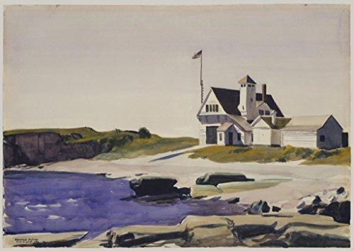 Coast Guard Station, Two Lights Maine : Edward Hopper : c1927 Art Print ()