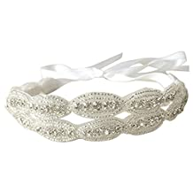 SODIAL Double Strip Bride Wedding Accessory Hair Head Band Wear Rhinestone Jewelry Headdress