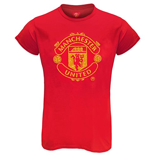 Manchester United FC Official Gift Ladies Crest Glitter Print T-Shirt Red 12 ()