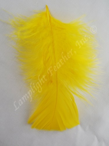 Turkey Plumage Craft Feathers Yellow per Ounce(28 grams) over 200 feathers per package 3-5 inches from Lamplight Feather (Yellow) for $<!--$6.00-->