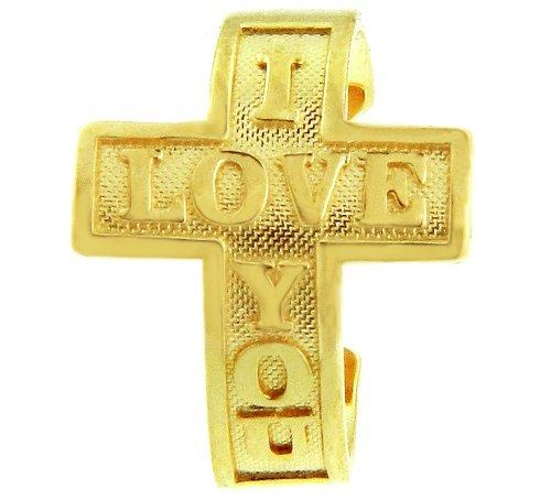 14k Yellow Gold ''I LOVE YOU'' Sideways Cross Toe Ring
