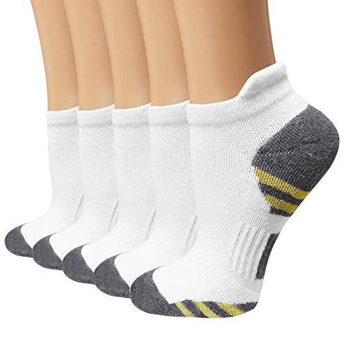 Season Stocking (Copper Compression Socks for Men&Women - 5Pairs Ankle Socks for Athletic,Running (Small/Medium, White))