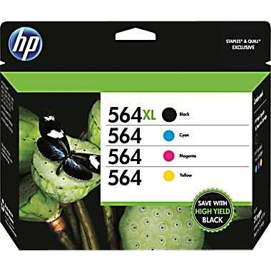 HP 564XL/564 High Yield Black and Standard C/M/Y Color Ink Cartridges by HP