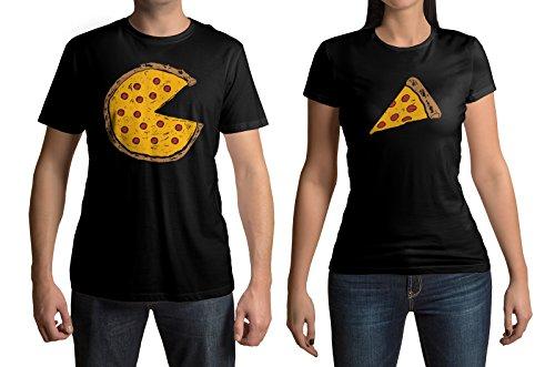 Couples Halloween Shirts (Pizza Pie & Slice Men's & Women's Matching Couples T-Shirt Set (Men's: L, Black|Women's: L,)