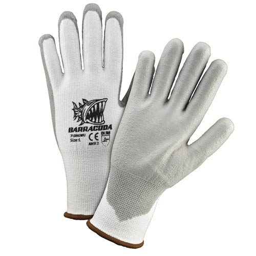 West Chester 713HGWU L Barracuda White HPPE Shell with Grey PU Dip Cut Protection Gloves, Large (Pack of 12)