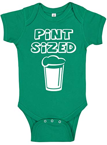 Handmade Baby Boy and Baby Girl St Patrick's Day Outfits - Cute Funny Green Irish St Paddy's Day Bodysuits (Green Pint Sized, 6 -