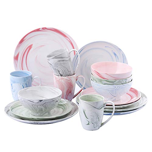 (VANCASSO Porcelain Ceramic Dinnerware Set for 4 person, Serving Set of Series Sayuki with Cup Bowl Plates Platters for Family Dinner, Party, Feast, 16-Pieces, Color)