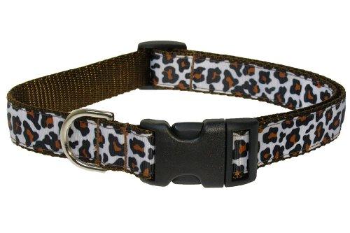 Sassy Dog Wear 10-14-Inch White/Brown Leopard Dog Collar, Small