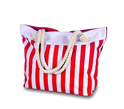 734229 Borsa per il mare mod. BEACHWEAR a strisce con doppio manico il corda. MEDIA WAVE store ® (Rosso)