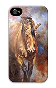 3D Hard Plastic Case for iPhone 4 4S 4G,Horse Art Case Back Cover for iPhone 4 4S