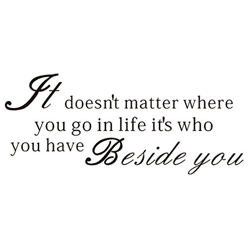 It Doesn't Matter Where You Go in Life It's Who You Have Beside You Quote Wall Decor Inspiring Quote Home Decor