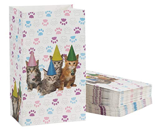 Cat Party Favor Bags - 36-Pack Cat Birthday Pet Party Supplies, Small Paper Gift Bags for Goodies, Cats and Paws Design, 5.1 x 8.7 x 3.2 Inches]()