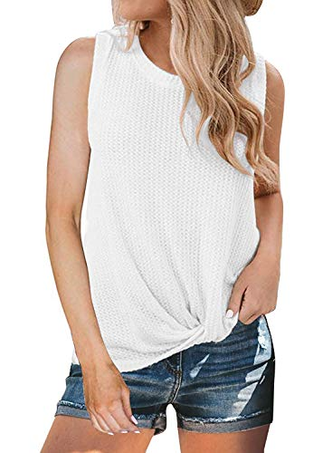 Womens Crew Neck Tank Tops Waffle Knit Sleeveless Shirts Tie Knot Tanks Plain Tunics White -