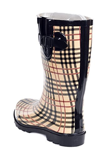 Forever Young Women Rain Boots, Mid-Calf 11 Rubber Booties Beige Plaid