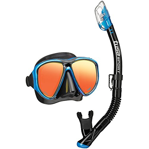 TUSA Sport Adult Powerview Mirrored Mask and Dry Snorkel Combo, Black/Fishtail Blue