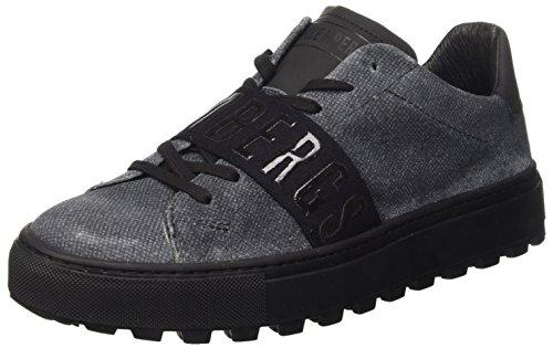 Bikkembergs Track-er 824 Low Shoe M Suede Denim Effect, Zapatillas Altas para Hombre Gris