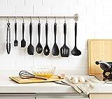 Puhibuox Kitchen Utensils Set - 10 Piece Non-Stick Silicone Cooking Tools, Dishwasher Safe, Black