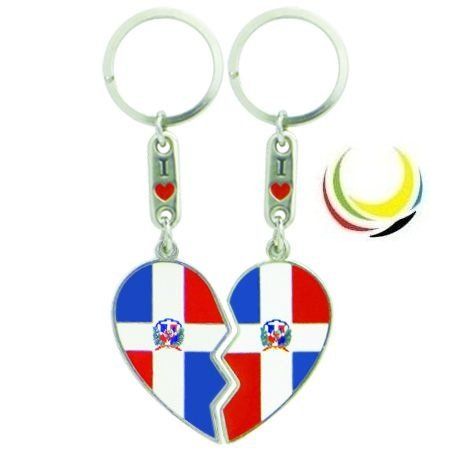 flagsandsouvenirs Keychain DOMINICAN REPUBLIC HEART